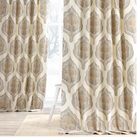 Arabesque Tan Printed Cotton Twill Curtain
