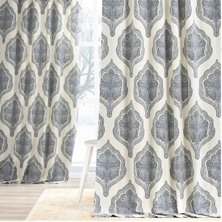 Arabesque Blue Printed Cotton Twill Curtain