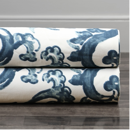 Indonesian Blue Printed Cotton Twill Swatch