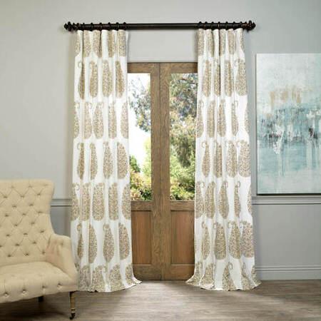 Paisley Park Tan Printed Cotton Twill Curtain