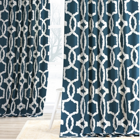 Lyons Blue Printed Cotton Twill Curtain