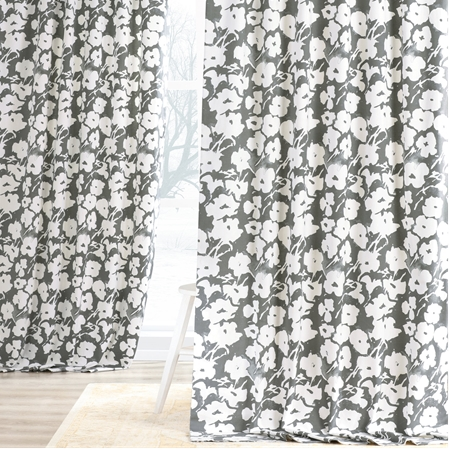 Van Gogh Grey Printed Cotton Twill Curtain
