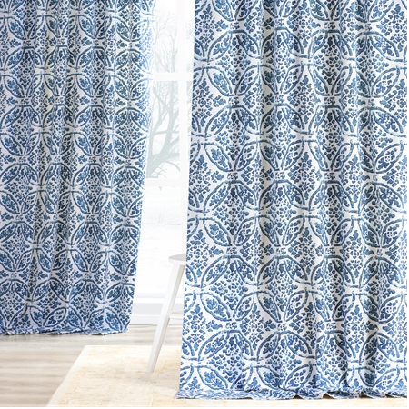 Catalina Blue Printed Cotton Twill Curtain