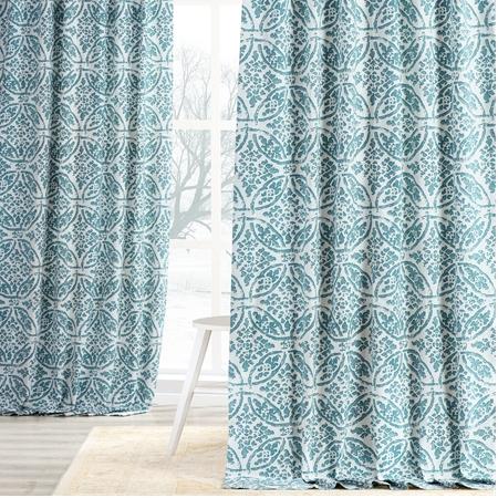 Catalina Aqua Printed Cotton Twill Curtain