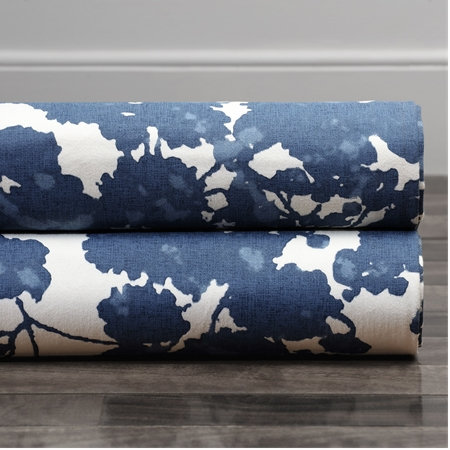 Fleur Blue Printed Cotton Twill Swatch