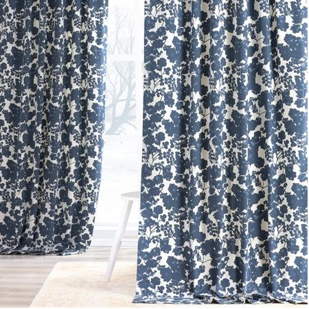 Fleur Blue Printed Cotton Twill Curtain