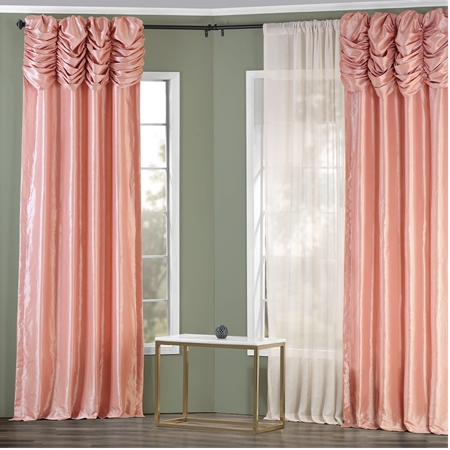 Flamingo Pink Ruched Faux Solid Taffeta Curtain