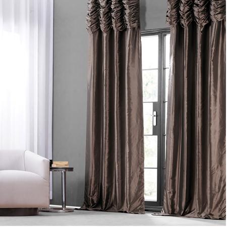 Mushroom Ruched Faux Solid Taffeta Curtain