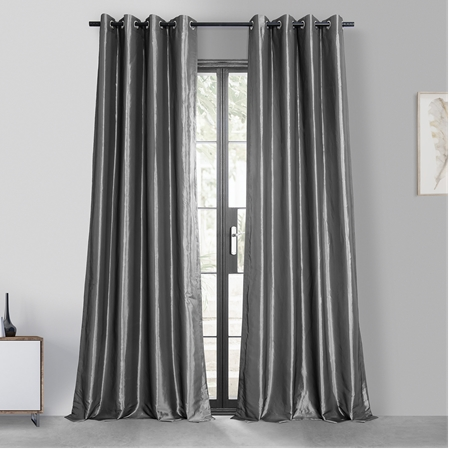 Graphite Grommet Blackout Faux Silk Taffeta Curtain