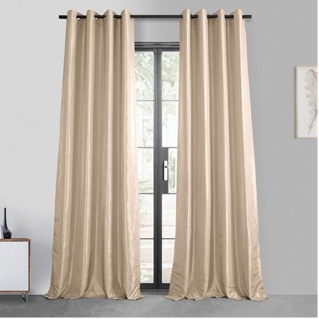 Antique Beige Grommet Blackout Faux Silk Taffeta Curtain