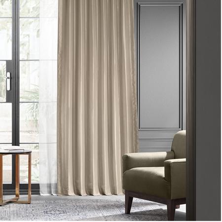 Antique Beige Blackout Faux Silk Taffeta Curtain