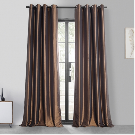 Copper Brown Grommet Blackout Faux Silk Taffeta Curtain