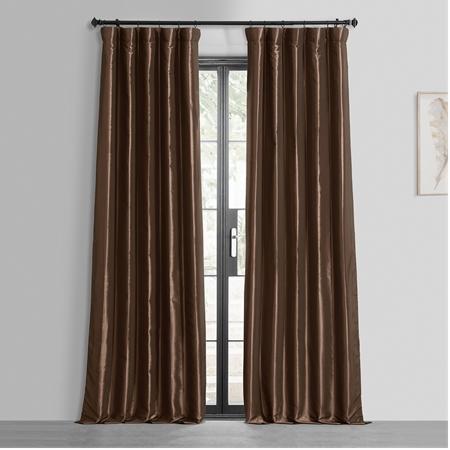 Copper Brown Blackout Faux Silk Taffeta Curtain