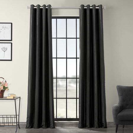 Black Grommet Blackout Faux Silk Taffeta Curtain