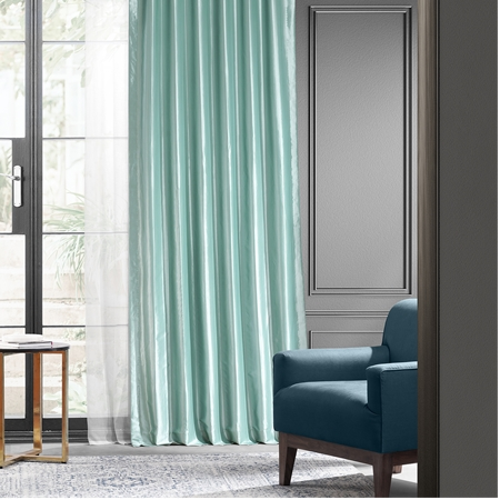 Robin's Egg Blackout Faux Silk Taffeta Curtain
