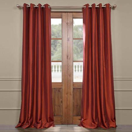 Paprika Grommet Blackout Faux Silk Taffeta Curtain