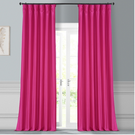 Fuchsia Rose Faux Silk Taffeta Curtain