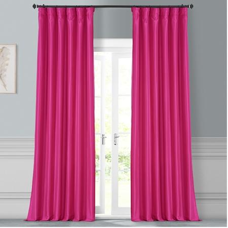 Fuchsia Rose Faux Silk Taffeta Curtain