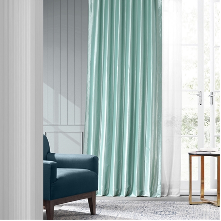 Robins Egg Faux Silk Taffeta Curtain