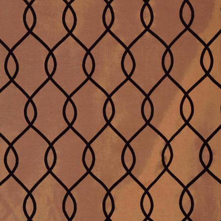 Meridian Copper Brown Flocked Faux Silk Taffeta Swatch