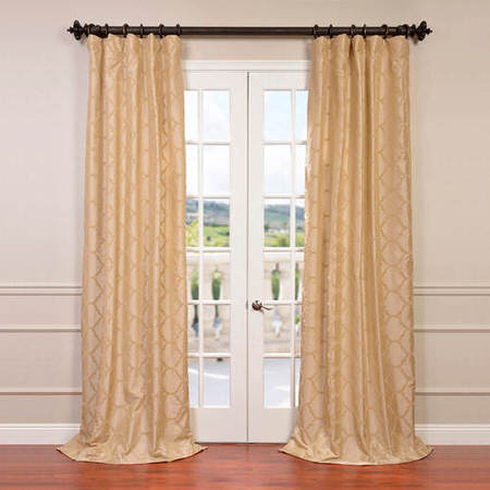 Marakesh Bone Flocked Faux Silk Taffeta Curtain