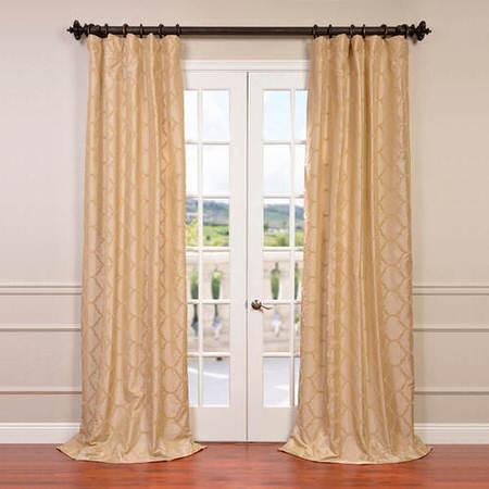 Marakesh Bone Flocked Faux Silk Taffeta Curtain