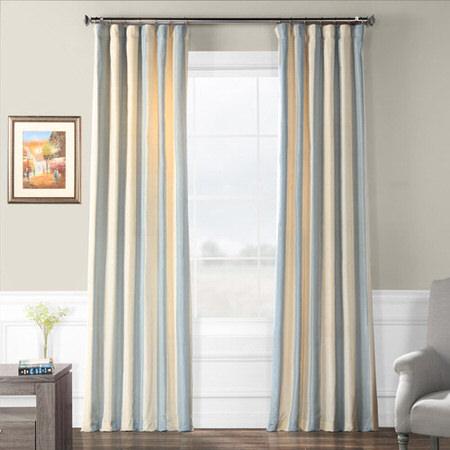 Hampton Faux Silk Taffeta Stripe Curtain