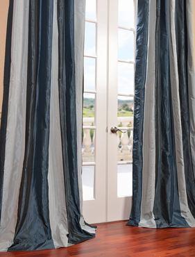Park Ave Faux Silk Taffeta Stripe Curtain