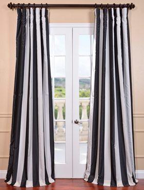 Dark Charcoal Off White Blackout Faux Silk Taffeta Stripe Curtain