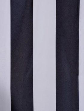 Ultra Lux Dark Charcoal Off White Blackout Faux Silk Taffeta Stripe Swatch