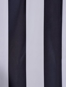 Ultra Lux Dark Charcoal Off White Blackout Faux Silk Taffeta Stripe Swatch