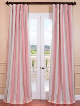 Pink Blossom Cream Blackout Faux Silk Taffeta Stripe Curtain