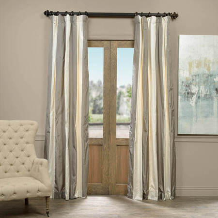 Denmark Faux Silk Taffeta Stripe Curtain
