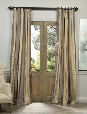 Prague Faux Silk Taffeta Stripe Curtain