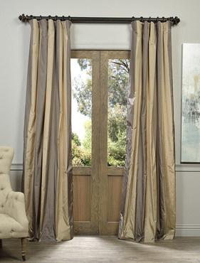 Prague Faux Silk Taffeta Stripe Curtain