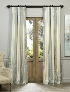 Sweden Faux Silk Taffeta Stripe Curtain