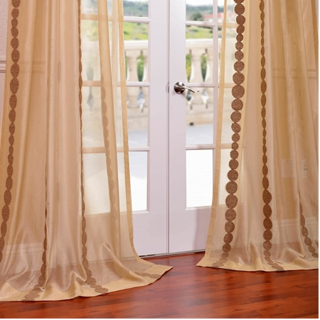 Cleopatra Gold Embroidered Sheer Curtain