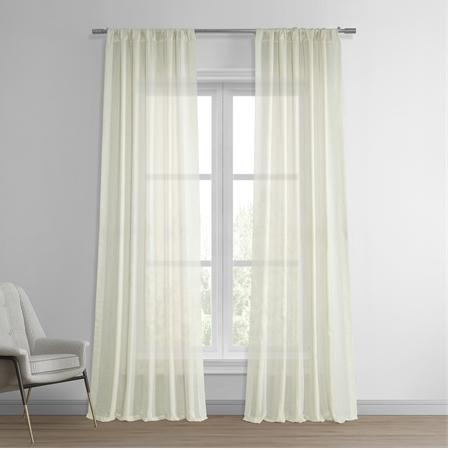 Antigua Off White Striped Linen Sheer Curtain