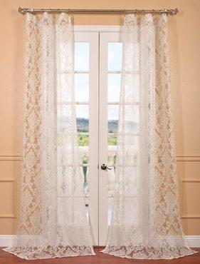 Antoinette White Patterned Sheer Curtain