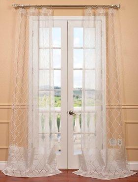 Palazzo White Banded Sheer Curtain