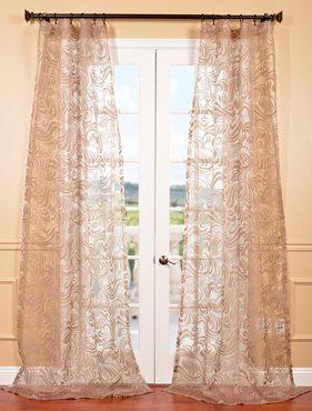 Sabrina Taupe Patterned Sheer Curtain