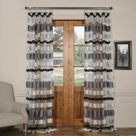 Cloudburst Grey Organza Horizontal Stripe Sheer Curtain