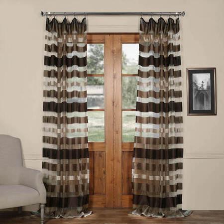 Antique Bronze Organza Horizontal Stripe Sheer Curtain