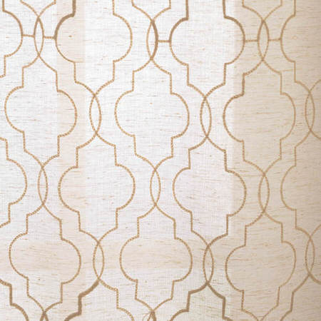 Saida Natural Embroidered Faux Linen Sheer Swatch
