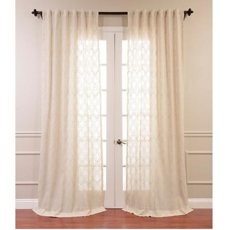 Saida Natural Embroidered Faux Linen Sheer Curtain