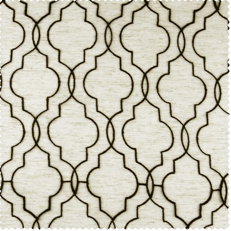 Saida Chocolate Embroidered Faux Linen Swatch