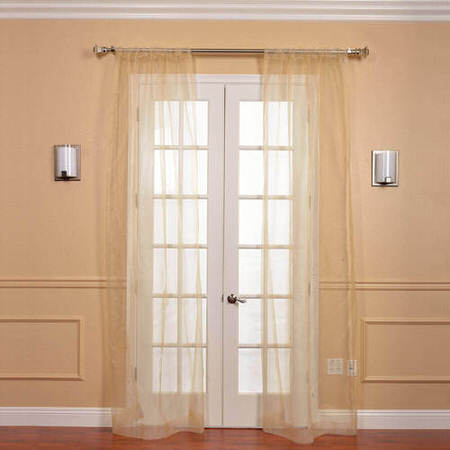 Pair (2 Panels) Gold Solid Faux Organza Sheer Curtain