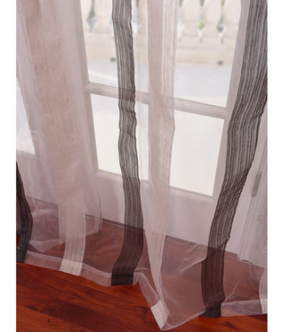 Signature Havannah Ash Striped Linen & Voile Weaved Sheer Swatch