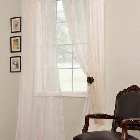 Signature Havannah Natural Striped Linen & Voile Weaved Sheer Curtain
