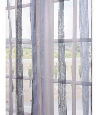 Signature Havannah Blue Striped Linen & Voile Weaved Sheer Swatch